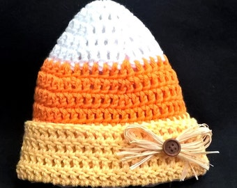 Custom Handmade Crochet Candy Corn Beanie Hat newborn-adult