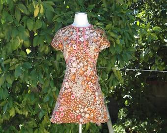 Brown, Tan, Orange, Pink Floral Print 60s /70s Mini Dress