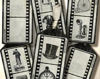 Steampunk Tags,Filmstrip,Vintage, Instant Download, Digital Collage Sheet/ printable, Gentleman