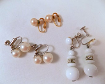 Vintage Earring Sets, 3 Sets 1960s Clip On / Screw Back Earrings, Faux Pearl Clip Ons, 1960s Earrings