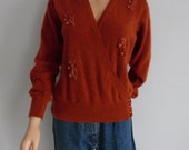 Lambswool sweater jumper pullover, orange rust tan brown, fineknit, wrap around cross over front, long sleeve, small