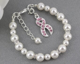 Awareness Jewelry Breast Cancer Awareness Bracelet Swarovski Pearl Bracelet Breast Cancer Awareness Month Bracelet for Cancer Survivor Gift