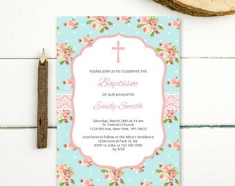 Girl Baptism Invitation, first communion christening invitation girl invite confirmation, instant download pdf printable baptism invite