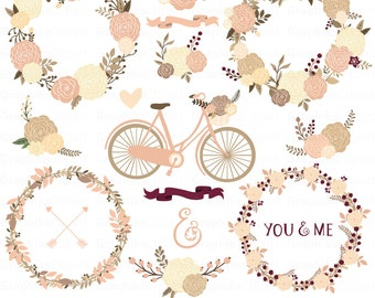 Foral Dahlias Collection. Floral Wedding Collection. Romantic Bicycle, Wreaths. 16 images, 300 dpi. Eps, Png files. Instant Download