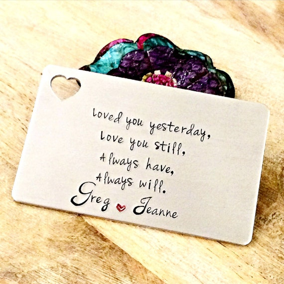 Hand Stamped Aluminum Wallet Insert-Love Note-Wallet Card-Personalized Wallet Card-Gifts for Husband, Dad, Boyfriend, Son