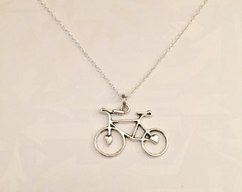 Antique Silver Bicycle Necklace Gift for Bicyclist Bike Rider, Bicycle, Bike, Bike Racer, Hiker, Bicyclist Jewelry, Marathon Gift, Cycling