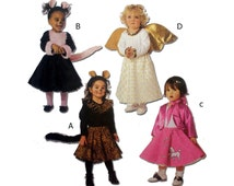 Cheetah, Cat, 50's Sock Hop Girl, Angel Costume Sewing Pattern Toddler Size 1, 2, 3, 4 Uncut McCall's 3754