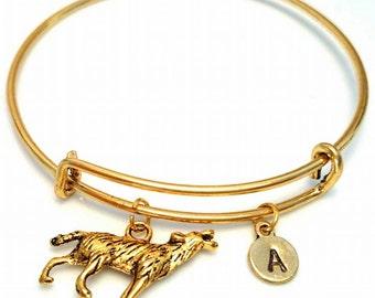 Wolf Bangle Bracelet, Adjustable Expandable Bangle Bracelet, Wolf Charm Bracelet, Wolf Pendant, Wolf Bracelet, Wolf Jewelry, Full Moon Charm