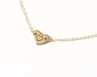 Stamped Heart Necklace, Silver Heart Necklace, Heart Initial Necklace Heart Gifts Always In My Heart Forever In My Heart I Carry Your Heart