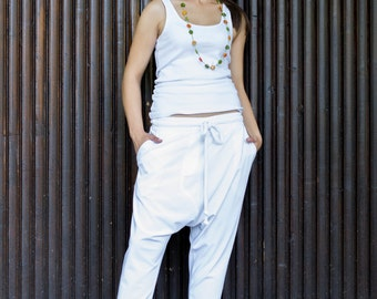White Drop Crotch Pants/ Low Crotch Pants/ Loose Pants/ Harem Pants/ White Cropped Pants