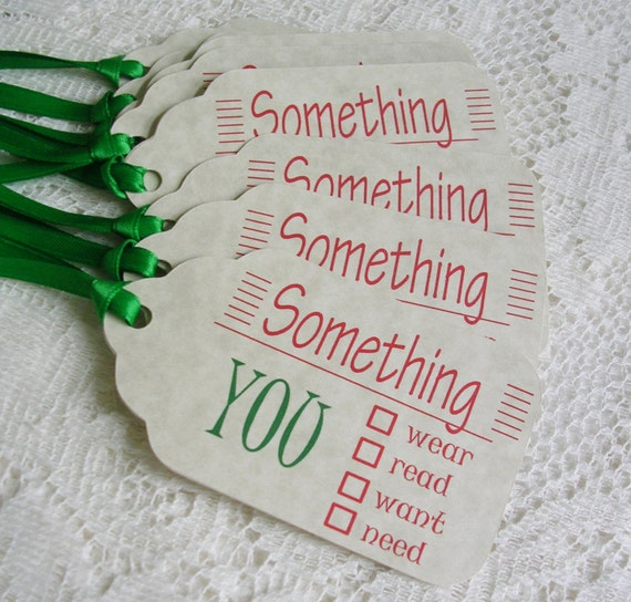 Christmas Gift Tags - Large Something You Want, Need, Wear, Read Holiday Tags - Package ...