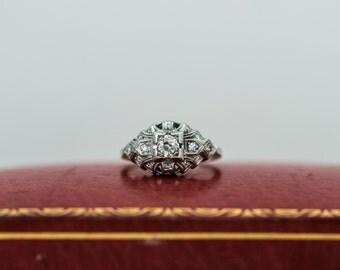 Antique Edwardian Old Miner Cut Diamond - Platinum Engagement Ring with .20ct Center Diamond ATL #187