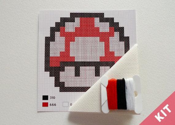 Mini Cross Stitch Kit - Mushroom - Mario Bros