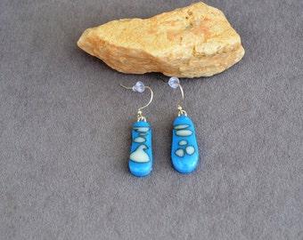 fused glass blue and white earrings, handmade, kiln fired