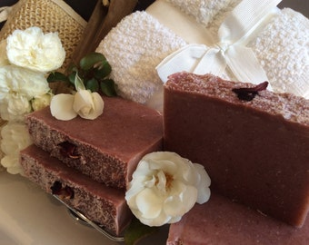 VINTAGE ROSE SOAP..Rose hip tea with shea butter, pink kaolin clay, and cream Moisturizing  soap