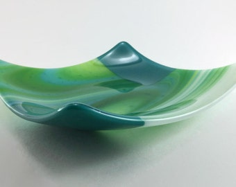 Decorative Fused Glass Square Plate in Swirled Teal, Green, and White