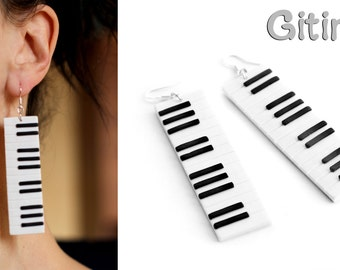 Piano earrings Music jewelry Keyboard earrings Long chunky earring Music instrument jewelry Big modern earring Musician gift Black and white