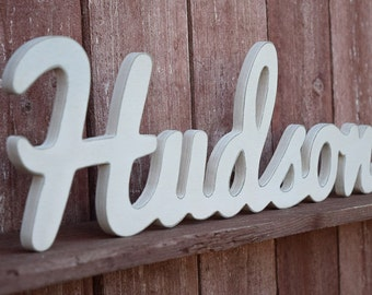 Hudson - Baby Name Wood Sign - Nursery Decor - Wooden Baby names
