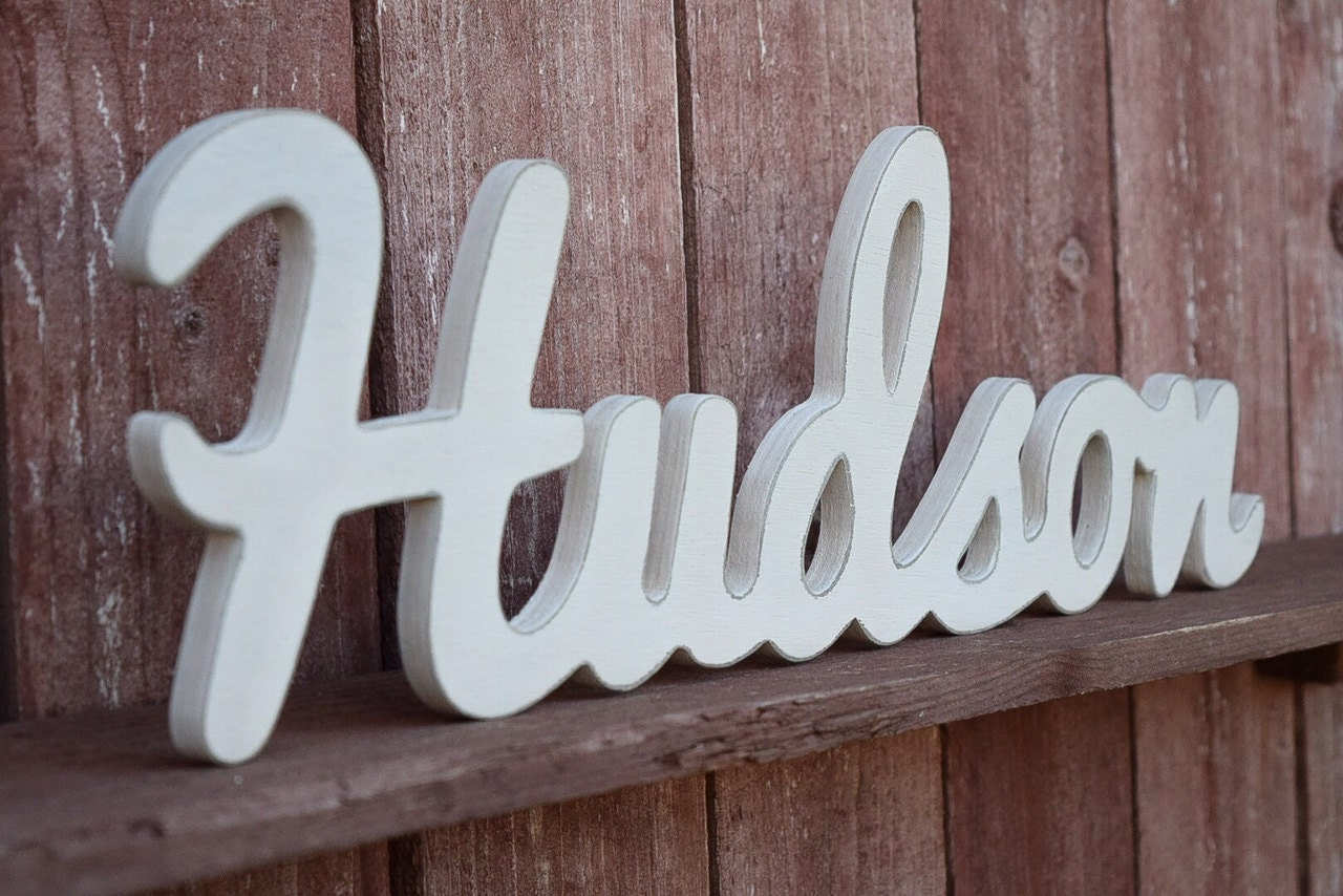 Hudson Baby Name Wood Sign Nursery Decor Wooden Baby