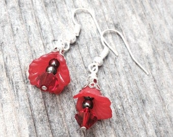 Red flower earrings lucite flower earrings red beaded earrings crystal flower dangle earrings birthday gift for wife women romantic gift