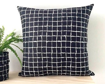 Black White Grid Cushion Cover | Pillow Cover with Invisible Zipper