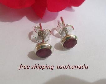 Ruby silver stud earrings; 92.5 sterling silver