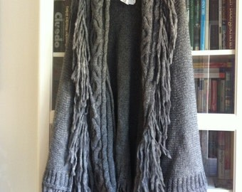 Beautiful Boho Grey Thick Woolly Pocho Cape
