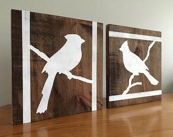 Cardinals - 2 Piece Set - Wood Wall Decor - Birds - Rustic Wall Decor - Farmhouse Decor