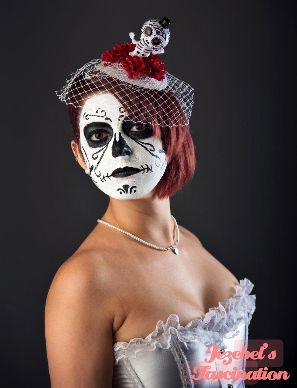 Dia de los muertos bridal wedding fascinator groom sugar skull for Sugar skull wedding dress