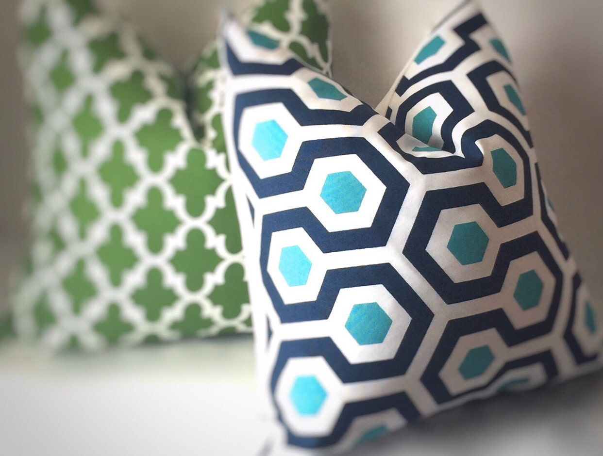 Outdoor Greek Throw Pillow Outdoor Pillows by SewDeevinePillows