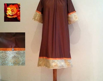 Brown tunic dress, 60s 70s golden retro dress, orange golden flowers, womans jersey dress, womens dresses, casual brown dress, brown dresses