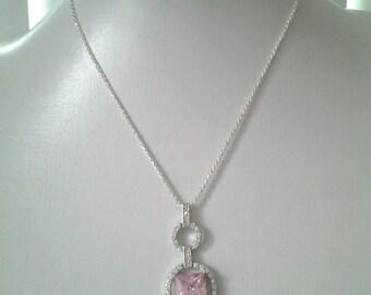 Pendentif  Quartz Rose biseautée & Quartz blanc/  Chaîne argent 925 ***Expédition gratuite au Canada***Free shipping in Canada**