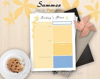 A4/LETTER - Daily Planner, ToDo Worksheet, Schedule Agenda Easy Template PDF, Orange Summer Organizer, Instant Download Digital Printable