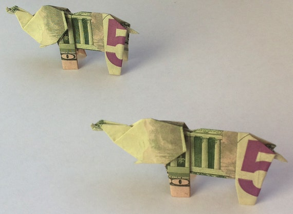 How to make origami elephant out of money - photo#51