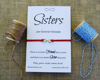 Sister Bracelet Sister Gift Infinity Charm Forever Friends Cotton Waxed Cord Gift for Sister Wishing Bracelet Sisters Inspirational Card
