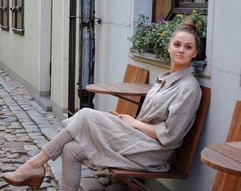 Linen dress woman, linen tunic dress, long dress linen with sleeves, summer dress linen, linen dress with button collar, loose linen dress