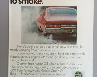 """Lot of 4 1968 and 1970 Quaker State Motor Oil Print Ads - """"Your car is too young to smoke"""""""