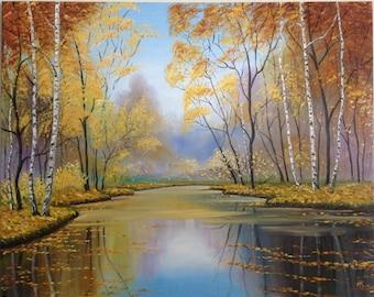 """Painting """"What is Autumn?"""". Original Landscape Art Oil Painting On Canvas, Size: 30"""" x 24"""" (75 x 60cm)"""