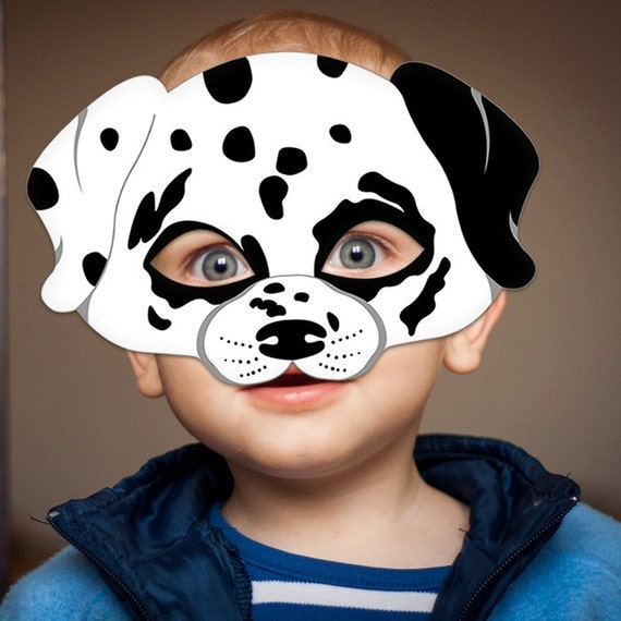 Dalmatian dog mask printable animal childrens by lmeprintables for Dog mask template for kids