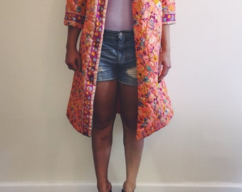 Vintage Quilted Bright Floral Jacket