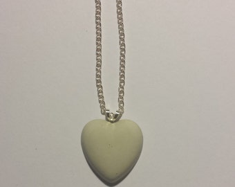 Personalized Metal Stamped Gray Concrete Heart Necklace/ concrete jewelry/ cement jewelry