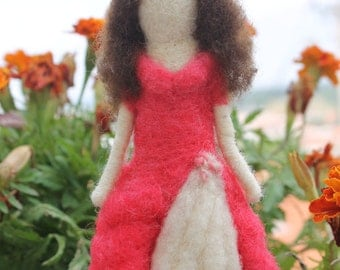 Needle Felted Doll,Princess Doll with red dress - Custom Made Wool Needle felted Figurine