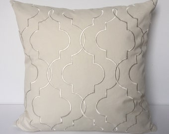 white pillow cover white embroidery 19 x 19 large pillow