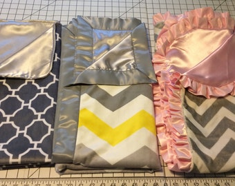 Minky and Satin Baby/Toddler Blanket