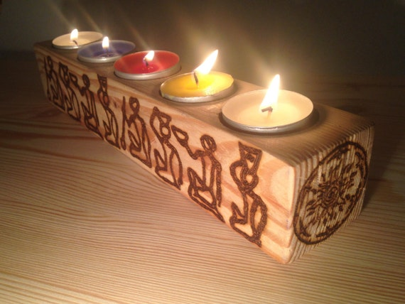 Items similar to natural wood candle holder hand burned