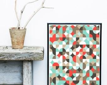 Mid Century Print, Retro Print, Geometric Wall Art, Printable Art,  Geometric Art, Wall Decor, Abstract Art Print, Home Decor, Wall Art