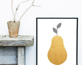 Scandinavian Art,  Instant Download, Pear Print, Printable Art, Wall Decor, Abstract Art Print, Wall art