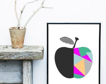 Apple Print, Printable Art, Abstract Art Print, Apple, Mid Century, Scandinavian Design, Nursery Art, Abstract Wall Art, Digital Download