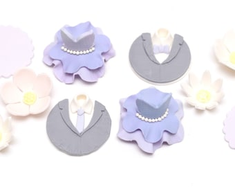 Fondant Dresses and Tuxedo 3D Cupcake Toppers - Prom/ Wedding/ Engagement