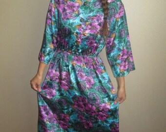 1980s Purple Floral Secretary Dress Size Medium
